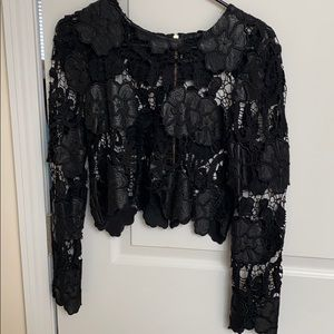 Leather/Lace Cropped top!